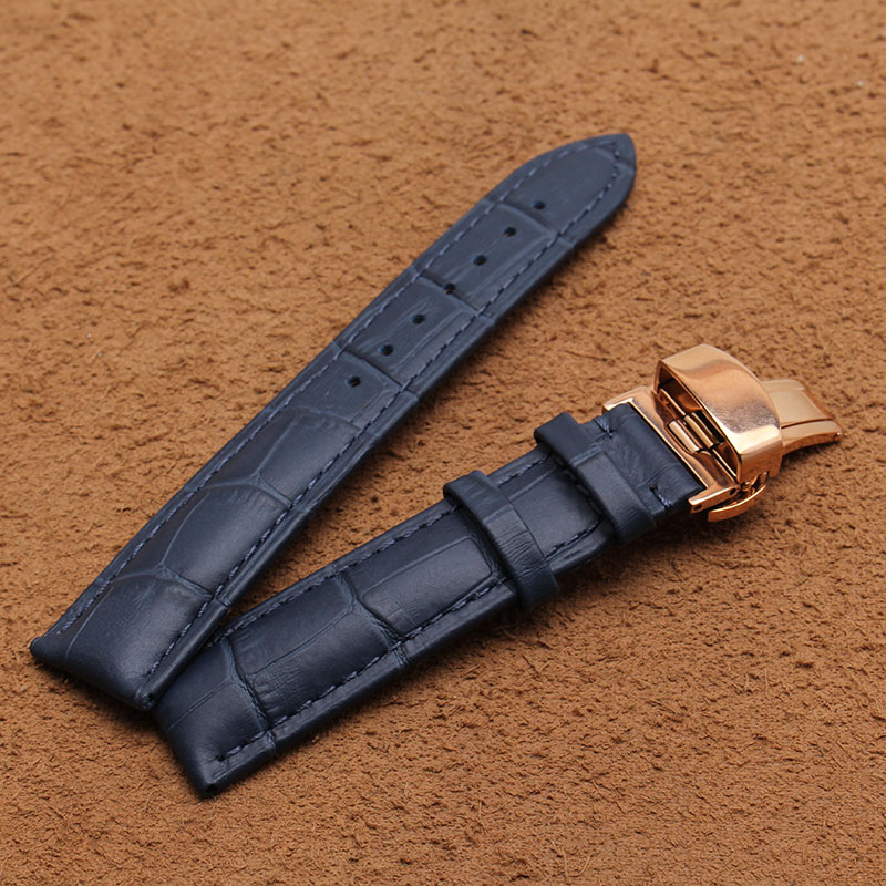 New Arrival Special Design Stitching Vintage Genuine Leather Watchband Calfskin Watch Straps dark blue 20mm rose gold buckle Hot top grade vintage calfskin genuine leather watch strap 20mm army green tan dark blue green maroon black watchband with buckle