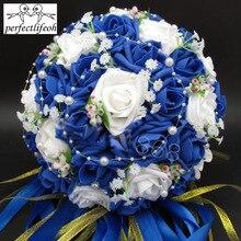 Perfeita buquê de noiva, flores artificiais de rosa, pérolas, acessórios de noiva, buquês de casamento com fita