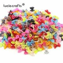 Lucia crafts, 2,5 см, 12 шт./24 шт., банты из органзы в горошек, для девочек, бутик, мини бант для волос, головной убор, сделай сам, одежда для рукоделия, B0810