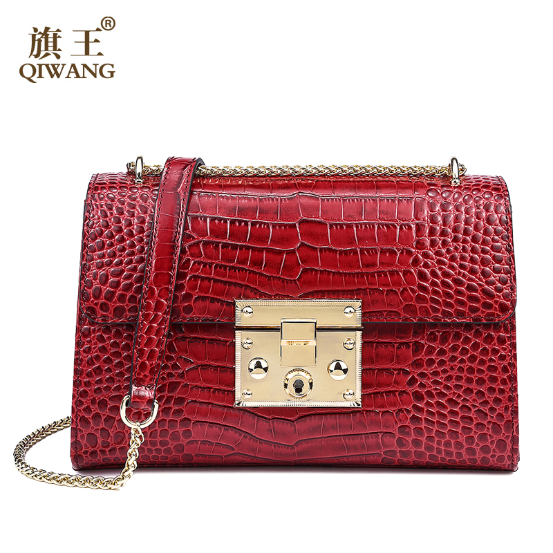 Qiwang Genuine Leather Bag Women Luxury Handbags Women Bags Designer Chain Shoulder Bags for Women New year Red Bag Quality Gift best quality 2018 new gate shoulder bag women saddle bag genuine leather bags for women free shipping dhl