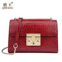 Qiwang Genuine Leather Bag Women Luxury Handbags Women Bags Designer Chain Shoulder Bags For Women New
