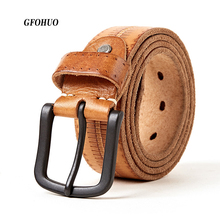Men Belt 100% Upper Genuine Leather Alloy Pin Buckle Blue Color Personality Choice Cowhide Male Strap Jeans Waistband Gift