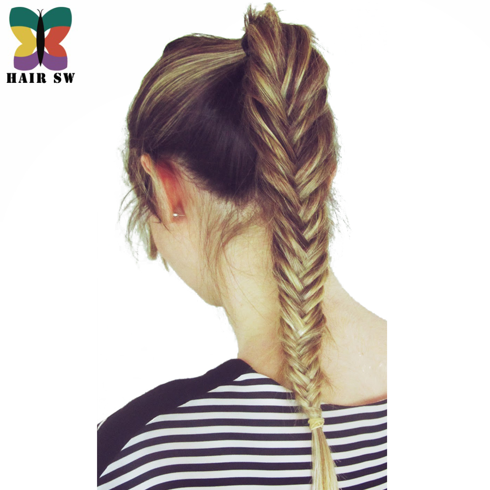 HAIR SW Long Straight Fishtail Braids Ponytail clip in Plaited Rope Hair Extension Synthetic Hair For wedding or daliy use golf wood 5 head cover