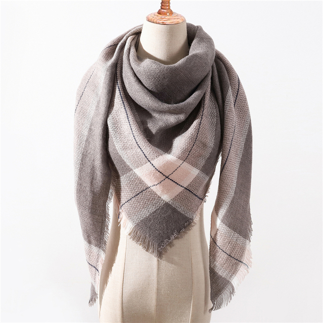 2018 new brand women scarf fashion plaid soft cashmere scarves shawl lady wraps designer Triangle warm Wholesale knitted bandana 4