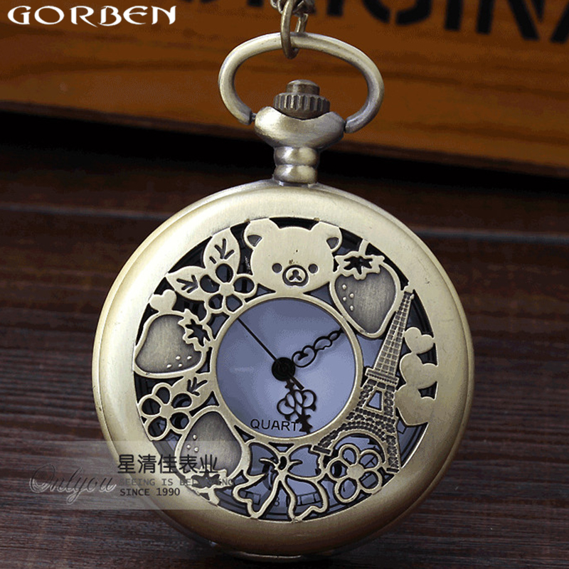 Cute Bear Rilakkuma Paris Strawberry Design Vintage Men Women's Watches Hollow Exquisite Quartz Pocket Watch Gift Chain Necklace