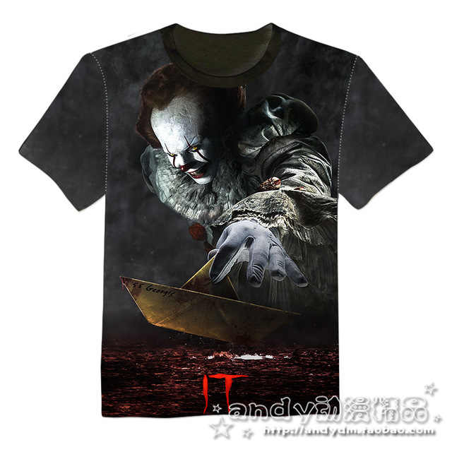 Nuovo film di ESSO Pennywise Pagliaccio Stephen King 1990 2017 Horror Movie T-Shirt Cosplay Tee