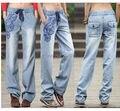 2017 Novo Denim Verão calças de Brim Das Mulheres Flared Perna Larga Cintura Elástica Impressão Moda Casual Solta Reta Calças S-XL