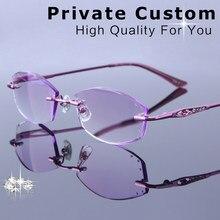 Mulheres Ultraleves Liga Sem Aro Miopia   Hipermetropia Óculos Óculos de  grau Espetáculo Óptico Óculos de Computador Fêmea Roxo 7542b32dcc