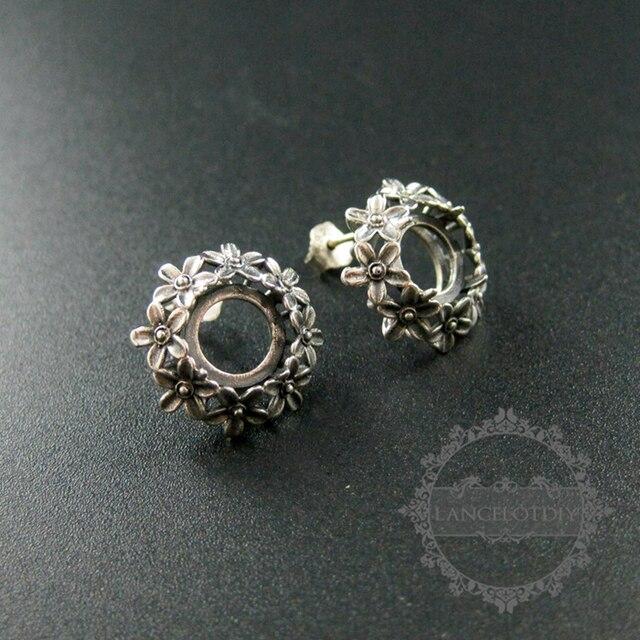 8 мм размер настройка старинные старину стиль твердые стерлингового серебра 925 цветок DIY серьги стержня рамка лоток 1706002