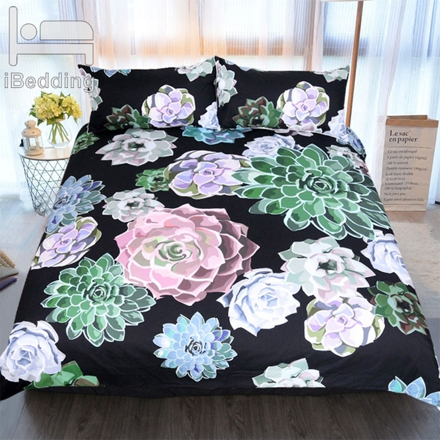 3Pcs/Set Beautiful Flower Comforter Bedding Set Full Queen King Plant Printed Soft Bedclothes Pillowcase Bed Duvet Cover