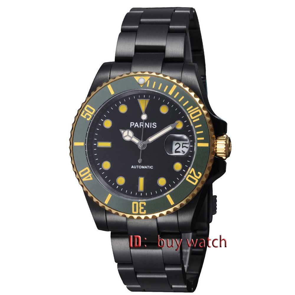 40mm Parnis green bezel PVD case Automatic movement sapphire glass Mens Watch 185 цена и фото