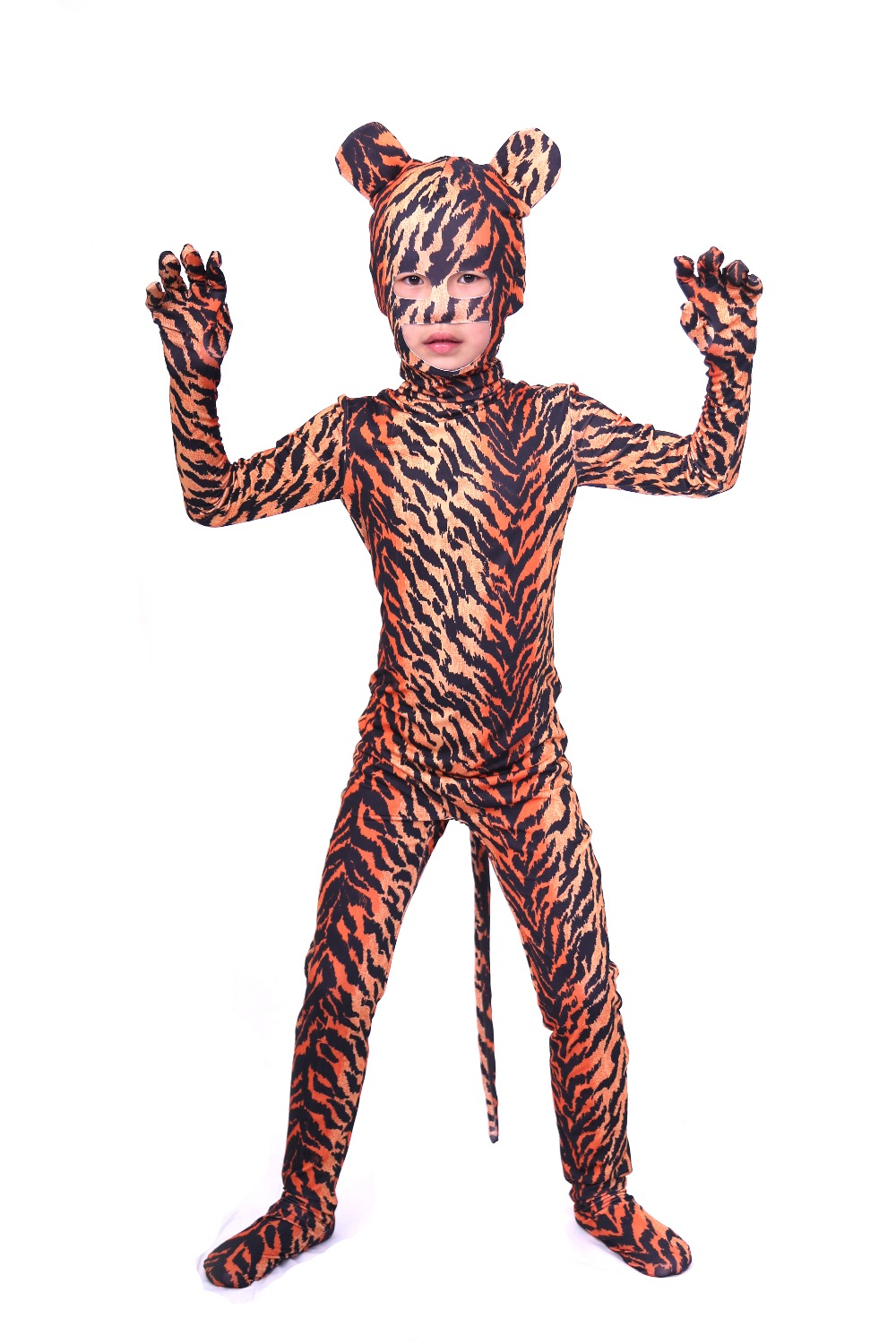 Child Tiger Print Zentai Suit with Open Eye Open Mouth Spandex Lycra Full Body Suits Boys Animal Halloween Cosplay Costumes