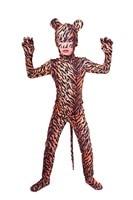Enfant Tigre Imprimer Zentai Costume avec Ouvert Oeil Ouvert Bouche Spandex Lycra Full Body Costumes Garçons Animaux Halloween Cosplay Costumes