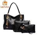 LOSHAKA 3PCS Women Handbag Fashion Stone Pattern PU Leather Crossbody Shoulder Bag Casual Tote Lady Clutch Female Messenger Bags