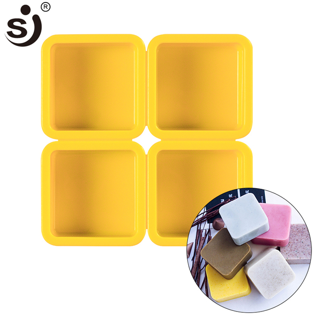 SJ 4Cavity Random Color Square Soap silicone molds for soap Mold Tray Natural Soap & Handmade 3d handmade soap