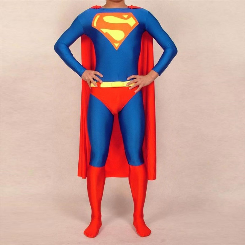 Adult/Childrens Mens/Womens Halloween Cosplay Superman Costumes Boy/Men Spandex Zentai Lycra Material Superhero Costume 2XS-6XL