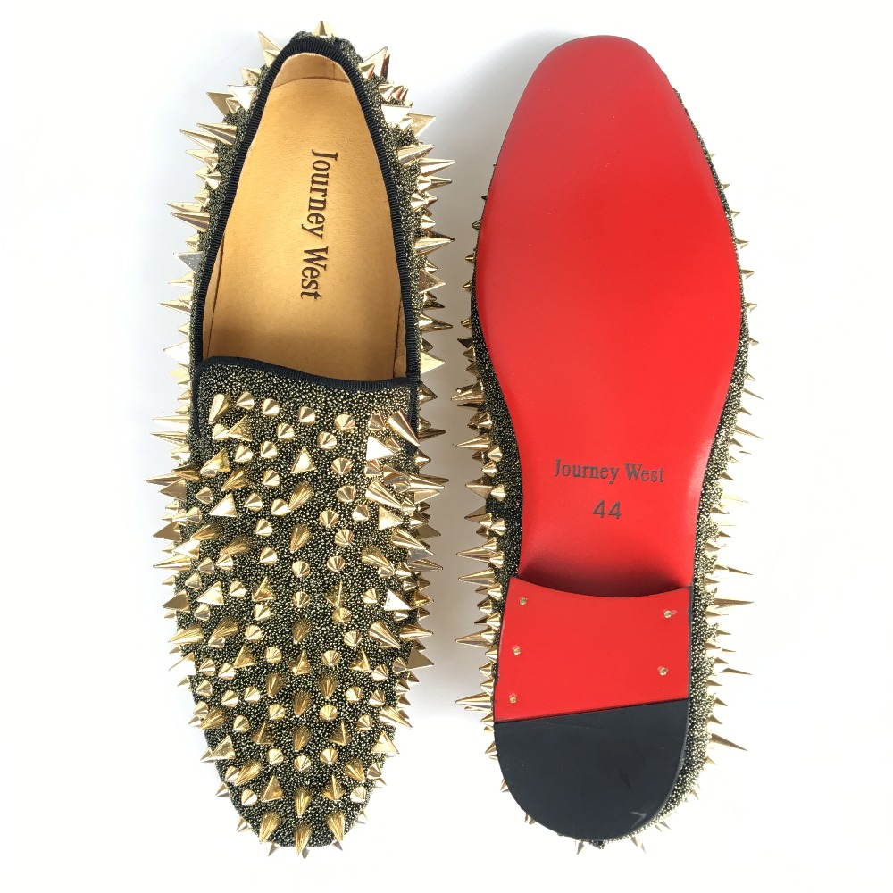 93cc28338320 New Fashion Men Party and Prom Shoes Leather Loafers with Gold Spikes  Slippers Men s Flats Red Bottom Slip on Shoes Size 7 14-in Men s Casual  Shoes from ...
