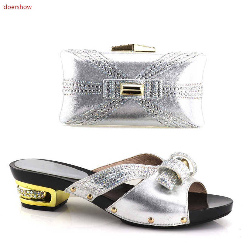 doershow 2018 Fashion Italian Shoes With Matching Bags For Party, High Quality Shoes And Bags Set For Wedding!HV1-17 doershow african shoes and bags fashion italian matching shoes and bag set nigerian high heels for wedding dress puw1 19