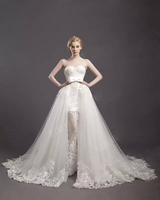 Real Mermaid Lace Detachable Train Wedding Dress 2017 Plus Size Ivory Applique Sequined Crystal Wedding Gown Newest Style W17