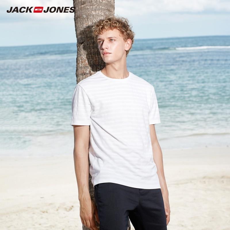 JackJones Men's Basic Cotton Printed Short-sleeved T-shirt E|219101547