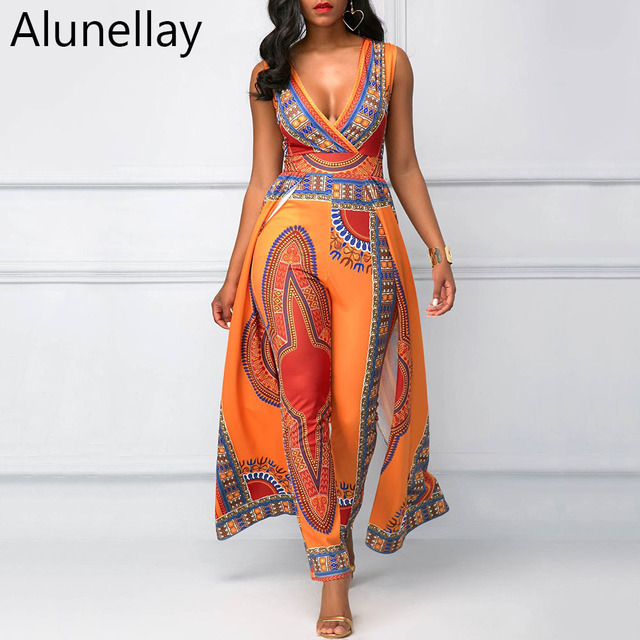cbea54344862 Alunellay African Design Bazin Summer Elegant Rompers Womens Jumpsuits  Sleeveless Deep V Neck Long Dashiki Overalls