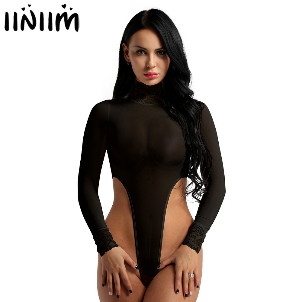 Catsuits Womens Body String Sheer Lingerie Transparent Long Sleeve Turtleneck Hook Crotch High Cut Tank Thongs Leotard Bodysuit