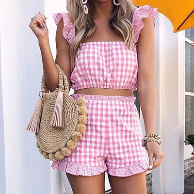 Ootn Pink Plaid 2 Piece Sets Summer Women Ruffle Sleeveless Tank Tops & Shorts Set 2018 Female Gingham Casual Two Piece Suits by Ootn