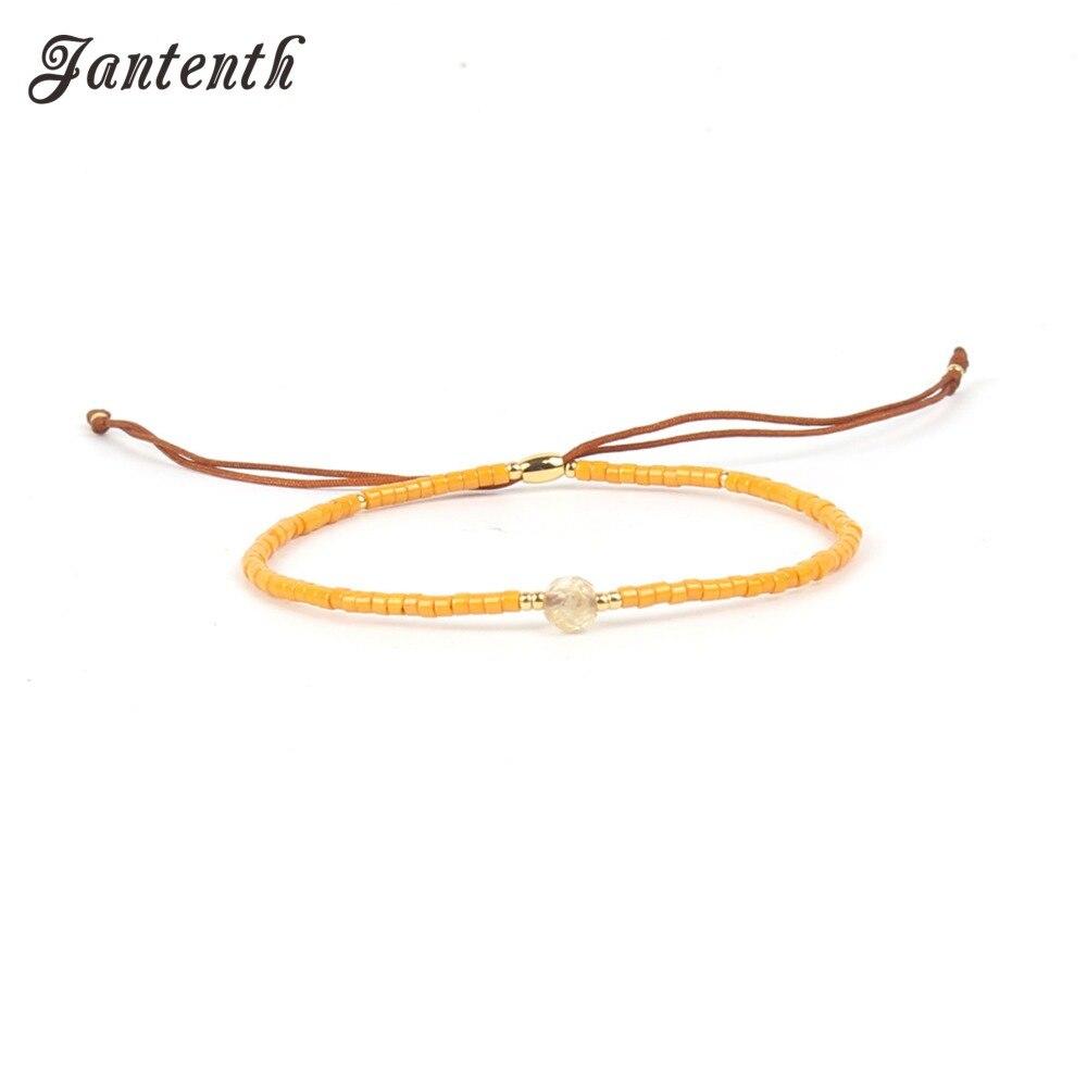 Jantenth New Statement Multicolor Tiny Beads Summer Beach Bohemian Bracelet Handcrafted Simple Adjustable Friendship Bracelet
