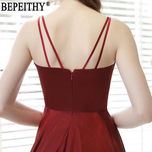 BEPEITHY Vestido De Festa New Design Sexy Slit Formal Dress Burgundy V Neck Long Evening Dresses Reflective Dress 2019 3