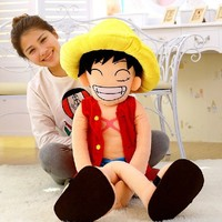 Free shipping 80cm=31.5'' ONE PIECE Plush Suffed Toys Doll Large One Piece Luffy Plush Toy For Children's gifts