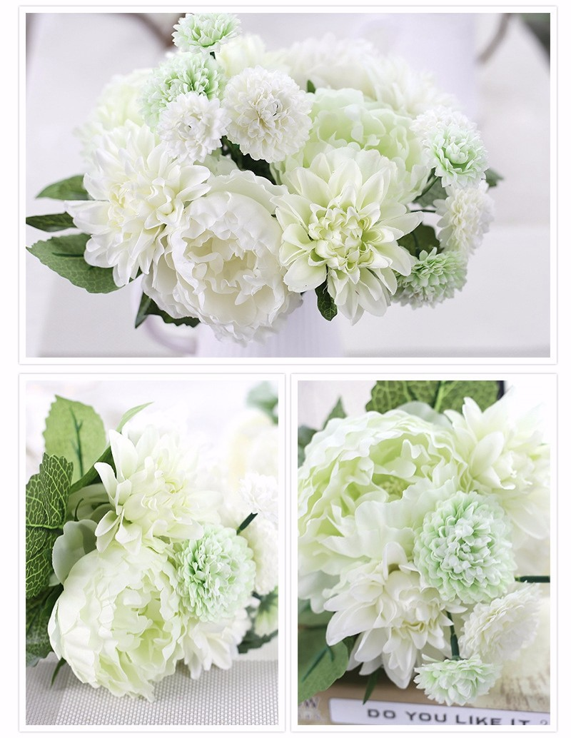 Cheap sale elegant artificial silk flower dahlia peony daisy mix cheap sale elegant artificial silk flower dahlia peony daisy mix bridal bouquet for home craft ornament wedding decoration in artificial dried flowers izmirmasajfo Images