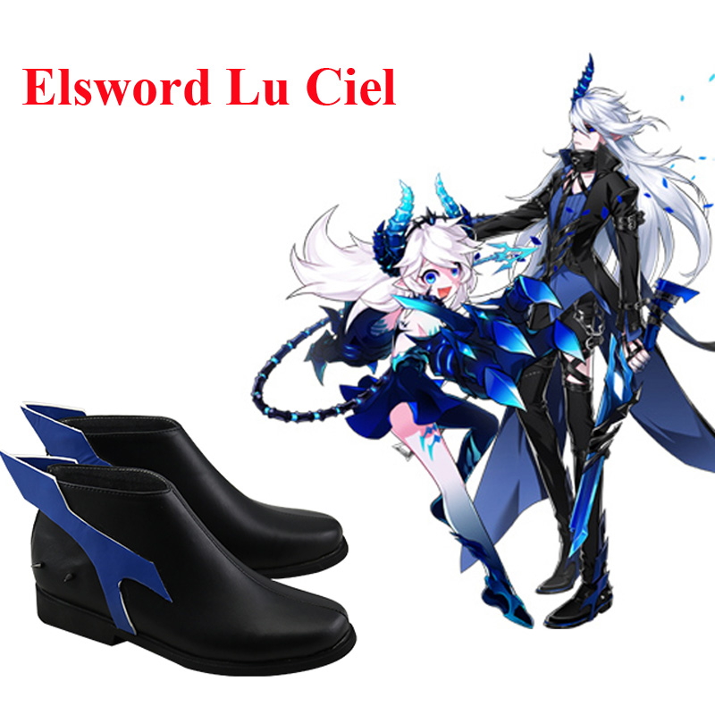 Elsword Demonio Lu Ciel Black Cosplay Shoes Boots Halloween Carnival Party Cosplay Costume Accessories