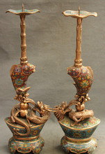 wholesale factory 24″ Chinese Cloisonne Palace Wealth Dragon Fish Statue Candle Stick Holder Pair