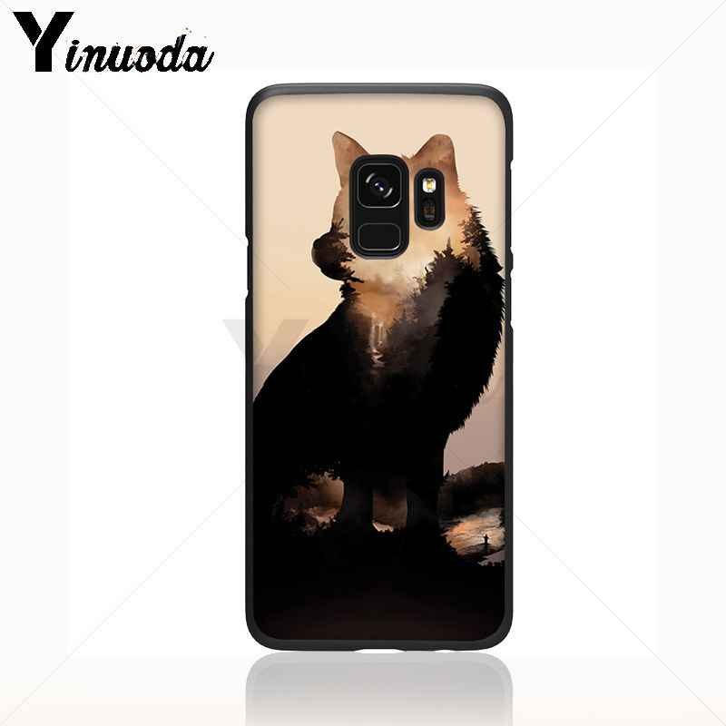 Yinuoda mát nửa Wolf mặt Mô Hình động vật Mềm Điện Thoại Điện Thoại Di Động Trường Hợp Đối Với Samsung Galaxy s9 s8 cộng với lưu ý 8 note9 s7 note5 trường hợp