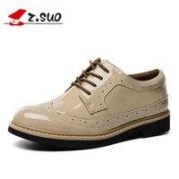 Z. SUO/Женская обувь на плоской подошве из лакированной кожи, удобная повседневная обувь с перфорацией типа «броги» для женщин, красная женска