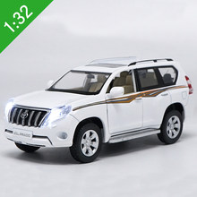 New 1:32 Scale Diecast Toy Model Toyota Land Cruiser Prado SUV With Sound Light Car Pull back Educational Collection Kids Gift(China)
