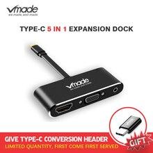 Vmade Type C คุณภาพสูง USB C ฮับ DP VGA Mini Adapter สำหรับ PC คอมพิวเตอร์ Samsung Galaxy S9 TypeC USB C 5 in 1 Mini Displayport