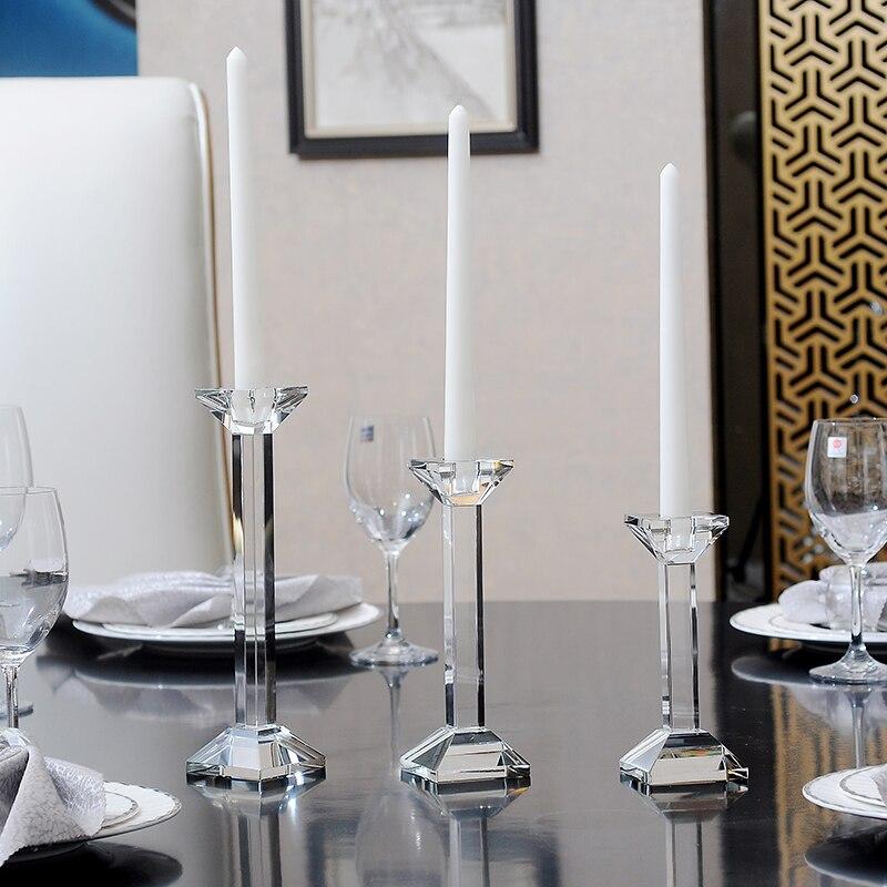 Bougeoir en cristal minimaliste moderne correspondant à la bougie photophore candélabres dîner décor de mariage
