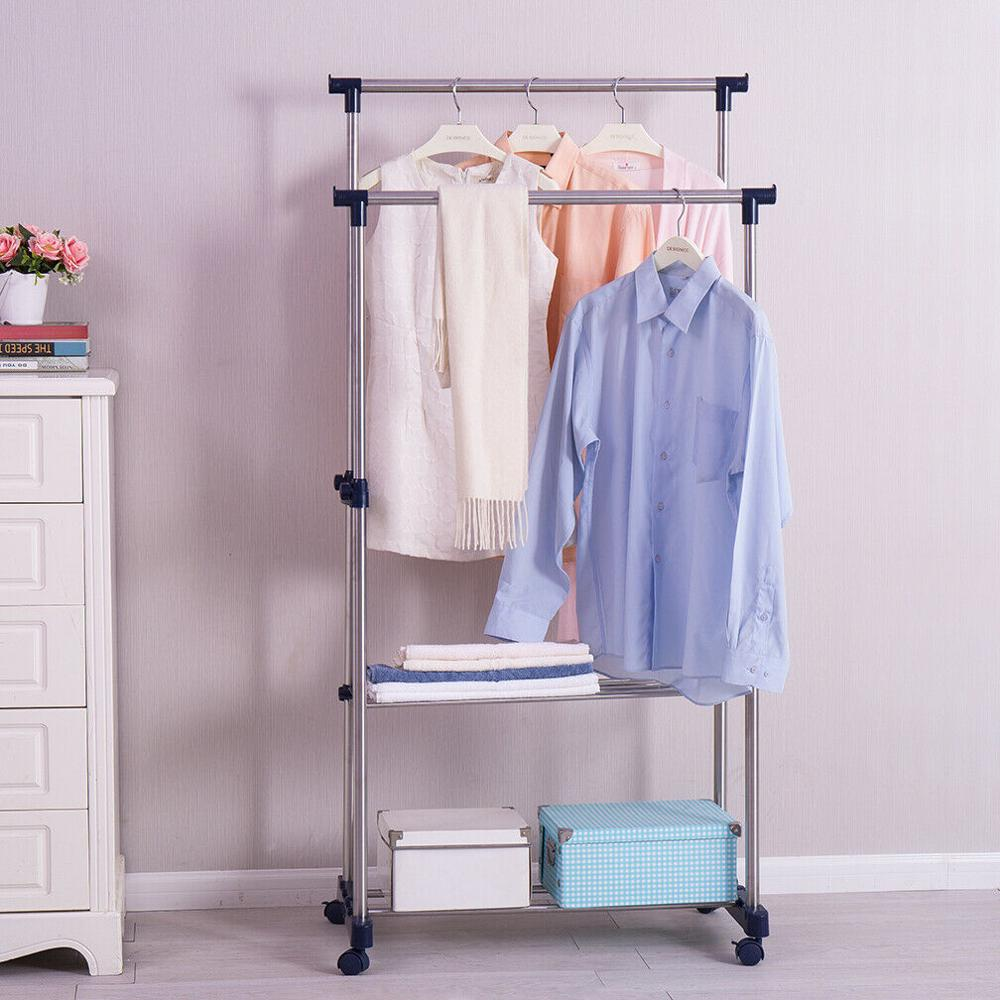 Living Room Double Rail Rolling Portable Adjustable Clothes Garment Rack Dress Hanger Shoe Shelf With Wheels Home Decor DQ0813ALiving Room Double Rail Rolling Portable Adjustable Clothes Garment Rack Dress Hanger Shoe Shelf With Wheels Home Decor DQ0813A