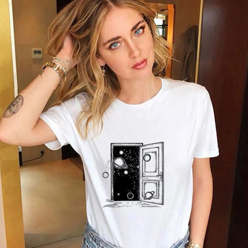 2019 New   T  -  shirt   Cosmic space Print universe faith Harajuku   T     shirt   Women Tshirt O-neck Short Sleeve White Tops Female Clothing