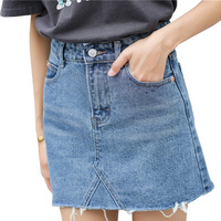 Hzirip Summer Fashion High Waist Skirts Womens Pockets Button Denim Skirt Female Saias 2017 New All