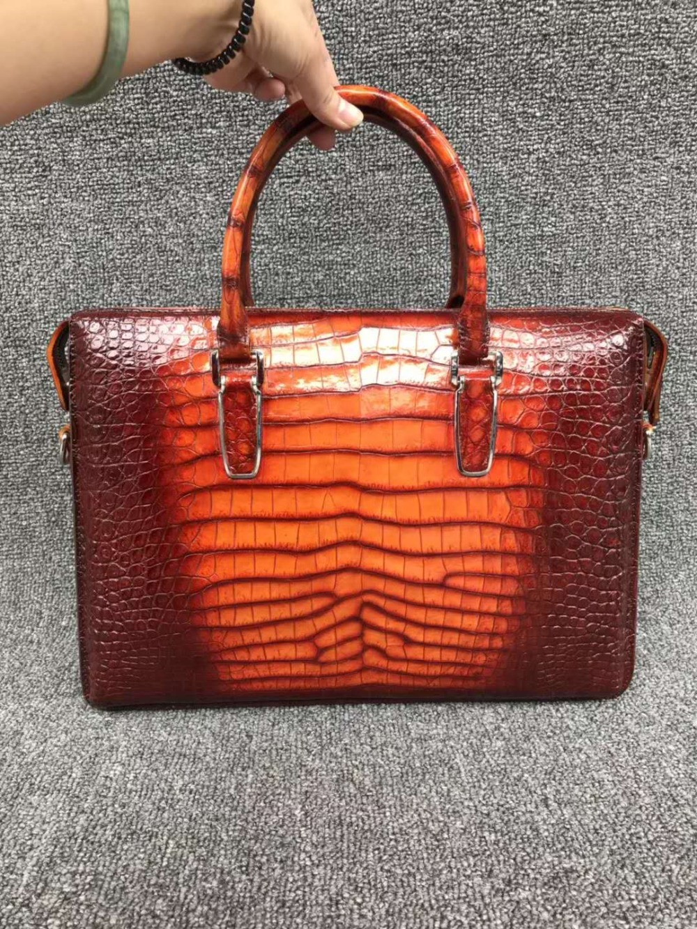 100% Genuine Real Crocodile Leather Belly Skin Men Business Bag Briefcase Zipper With Strap 2 Colors Orange+brown Crocodile Skin
