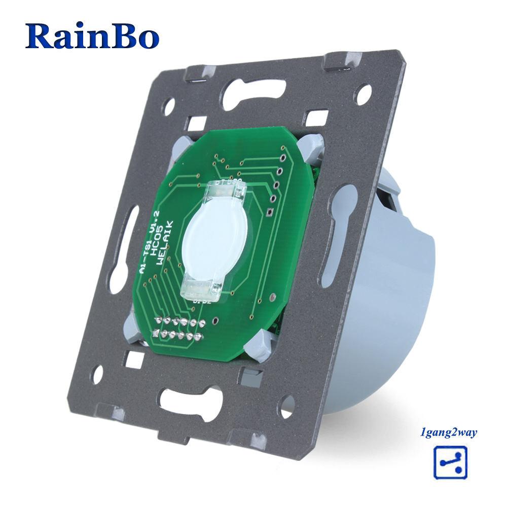 Rainbo Interruptor táctil DIY pared del interruptor UE 1gang2way pantalla táctil de pared para interruptores de luz LED 110 ~ 250 V A912