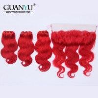 Guanyuhair темно красный Волосы remy 3 Связки с 13x4 кружева Фронтальная застежка уха до уха Малайзии тело волна натуральная натуральные волосы ткан