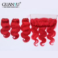 Guanyuhair Dark Red Remy Hair 3 Bundles With 13x4 Lace Frontal Closure Ear to Ear Malaysian Body Wave Virgin Human Hair Weave