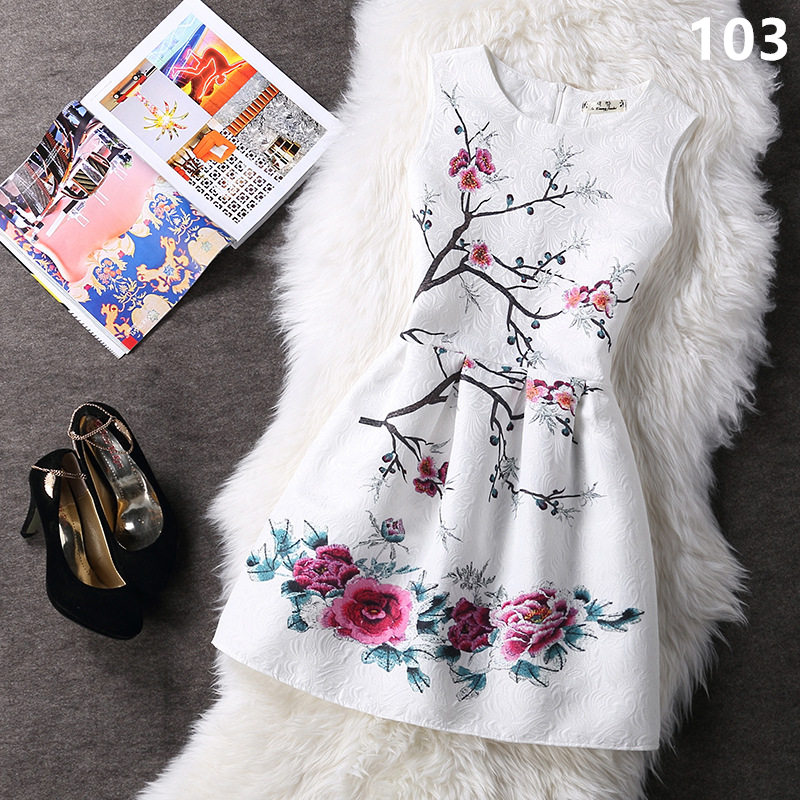 Summer style 2016 Fashion A-Line women maxi evening party casual vintage dresses printing sleeveless Vestidos de festa dress 153