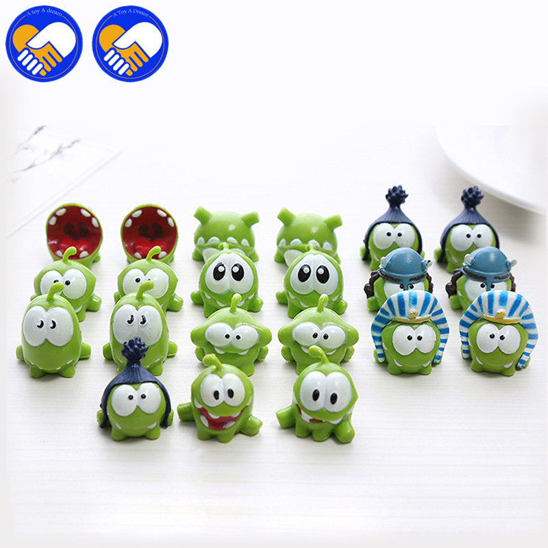 A TOY A DREAM Cute om nom frog Resin Toy Cut the ropes Action Figure Model cut the ropes figure classic toys game Xmas Gifts Toy 1pc 2016 new nici the frog prince cute frog plush toy 35cm