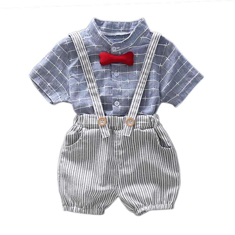 Baby boys Clothes Summer Boys British Wind Strap Set Boys Short Shirt + Jumpers Two Piece Set high quality