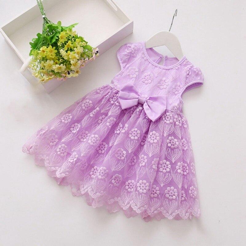 Summer Casual Baby Girls Short Sleeve Dress With Bowknot Design Kids Toddler Pageant Princess Mesh Sundress