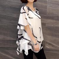 2017 New Fashion Blusa Blouse Women Shirt Summer Chiffon Shirt Plump Sister Loose Sleeve Women Tops